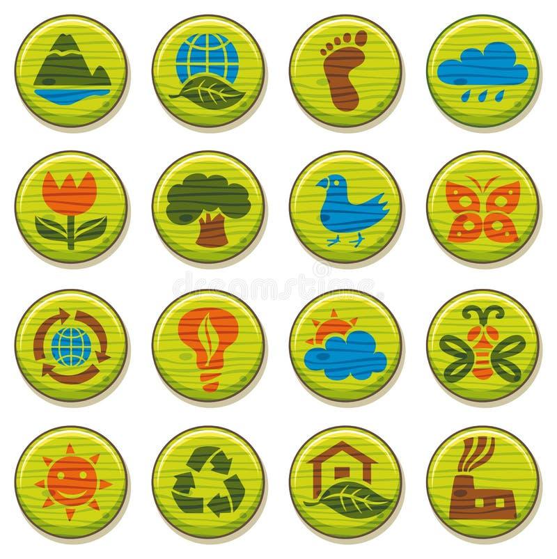 Le icone di legno dell'ambiente hanno impostato 3 illustrazione di stock