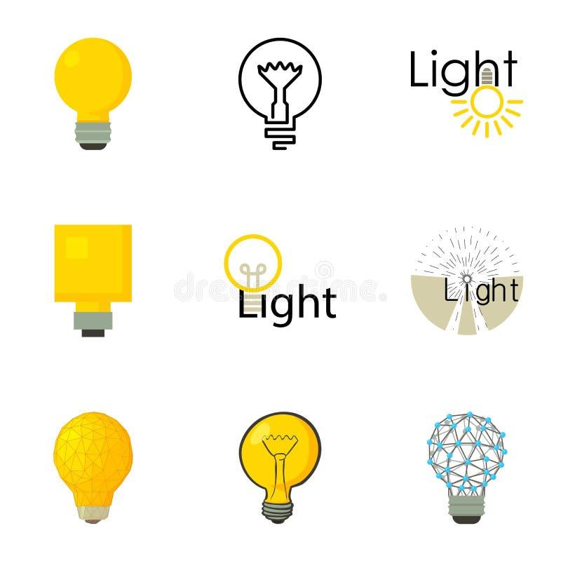 Le icone di logo della lampadina hanno messo, stile del fumetto illustrazione di stock