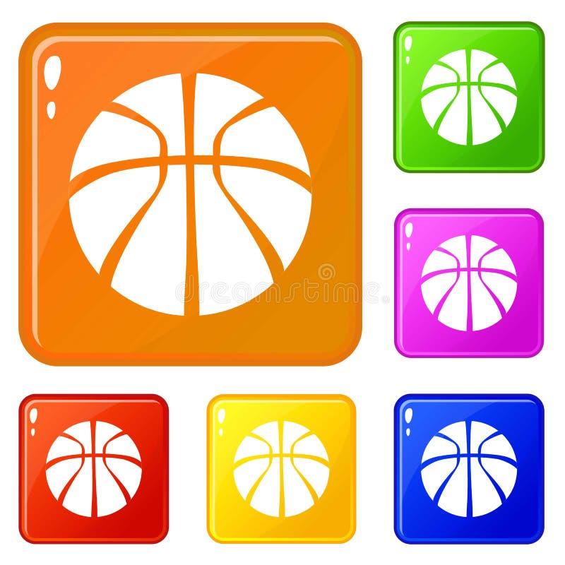 Le icone di pallacanestro hanno fissato il colore di vettore illustrazione vettoriale