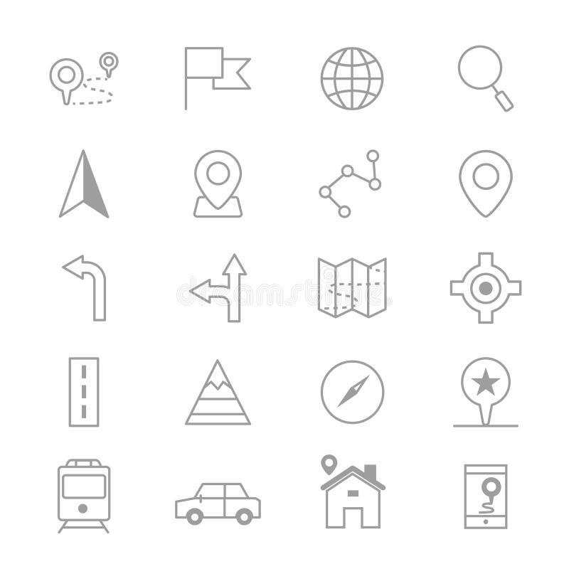 Le icone di posizione e di navigazione allineano l'insieme dell'illustrazione di vettore illustrazione vettoriale