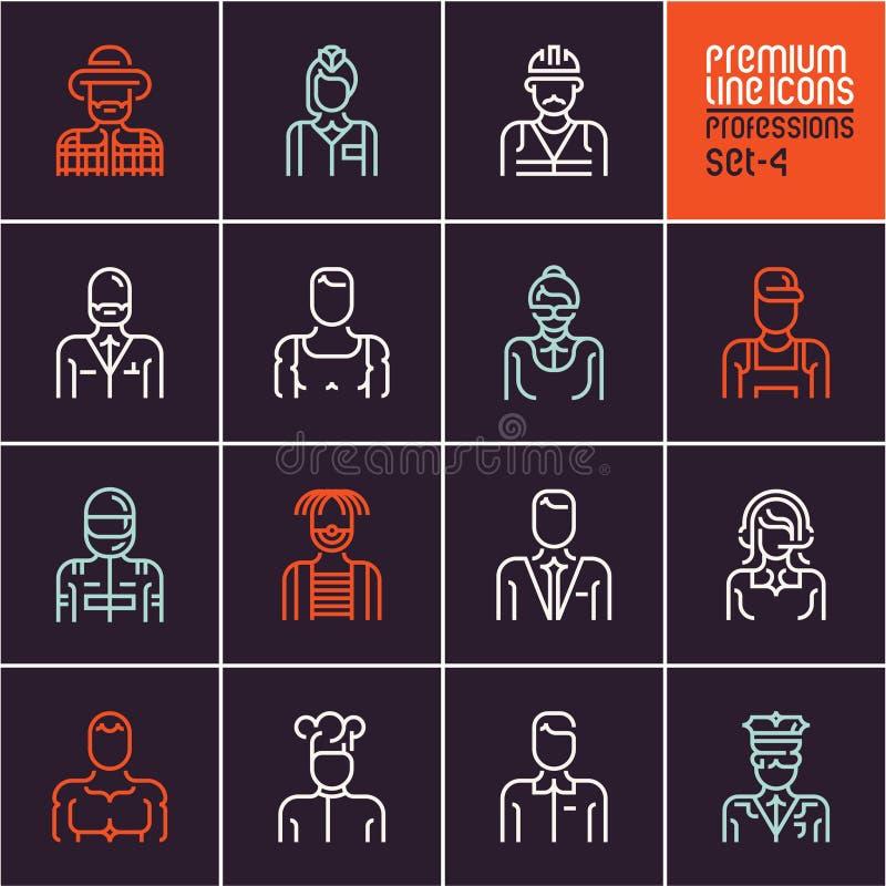 Le icone di professioni hanno messo, occupazioni della gente, l'affare, i lavoratori, l'impiegato, vettori isolati icone lineari  illustrazione di stock