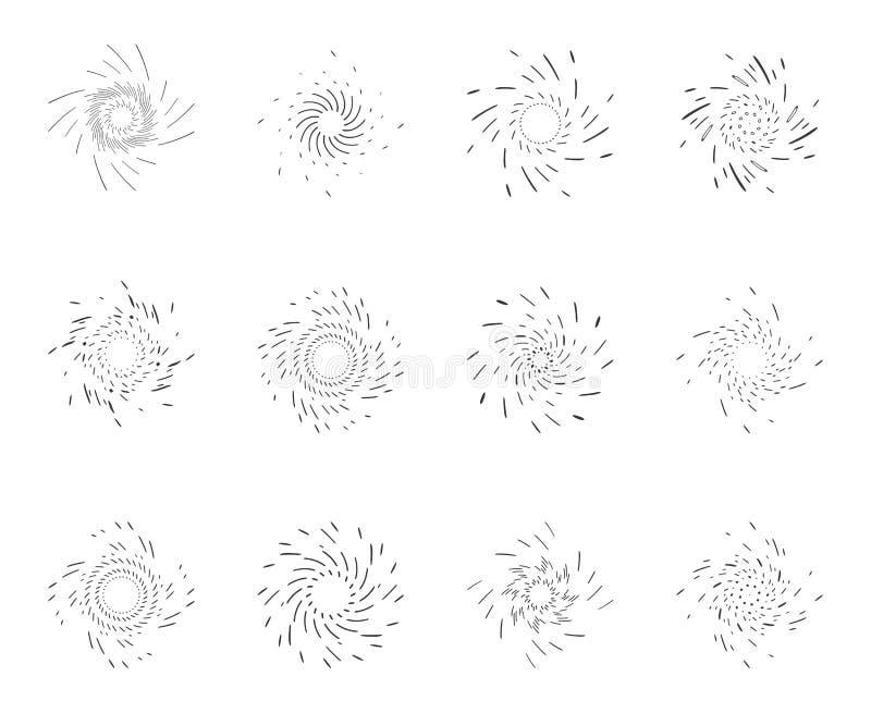 Le icone di progettazione del lineart della rotazione di scoppio del punto d'irradiazione di rotazione di spirale del mulinello d royalty illustrazione gratis