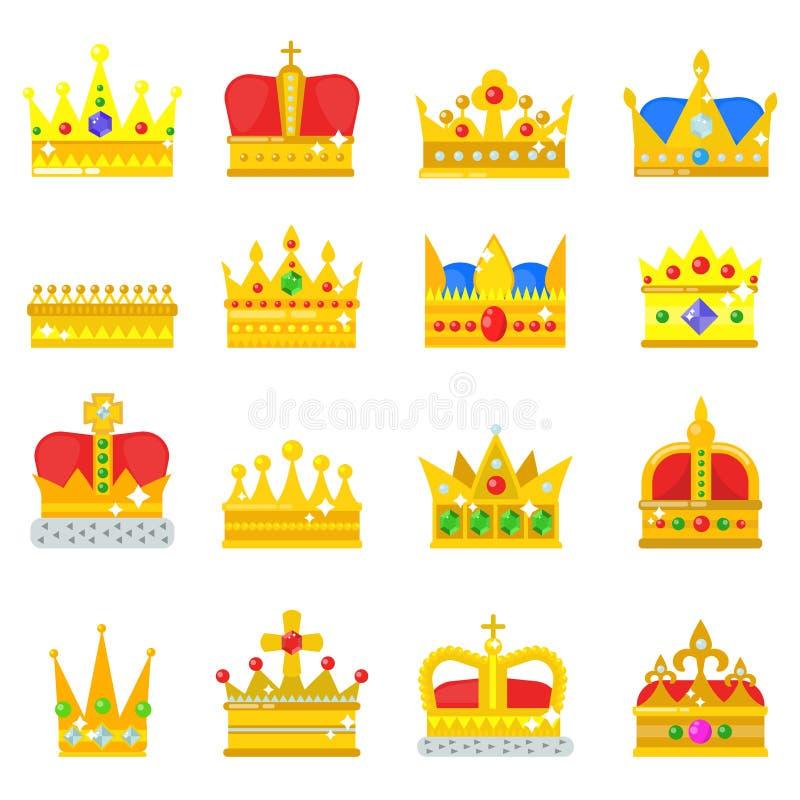 Le icone di re della corona dell'oro hanno messo l'illustrazione d'annata di vettore del segno dei gioielli della raccolta di nob illustrazione vettoriale