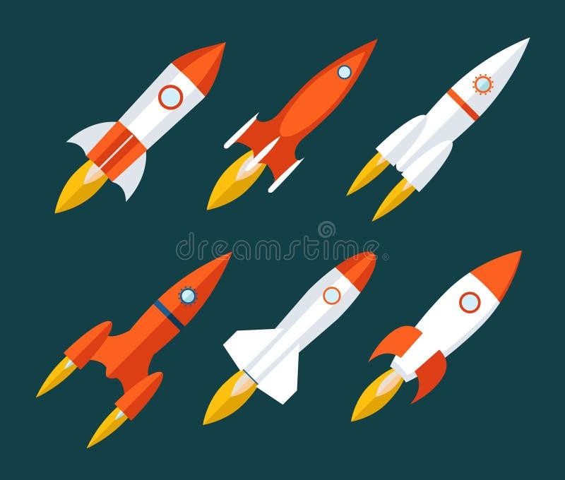 Le icone di Rocket iniziano su e lanciano il simbolo per nuovo illustrazione di stock