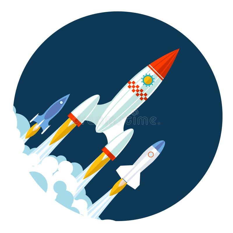 Le icone di Rocket iniziano su e lanciano il simbolo per nuovo illustrazione vettoriale