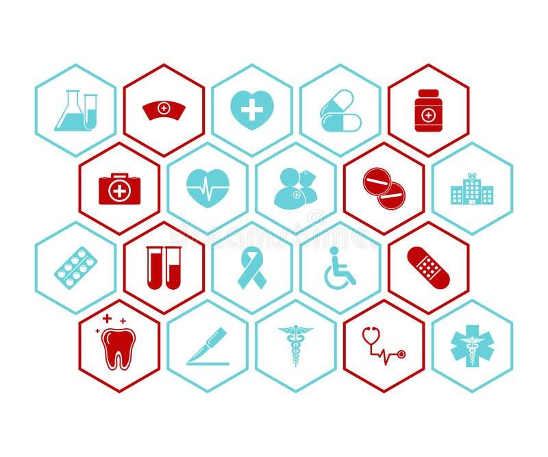 Le icone di salute e mediche vector i colori rossi e blu del fondo - illustrazione vettoriale