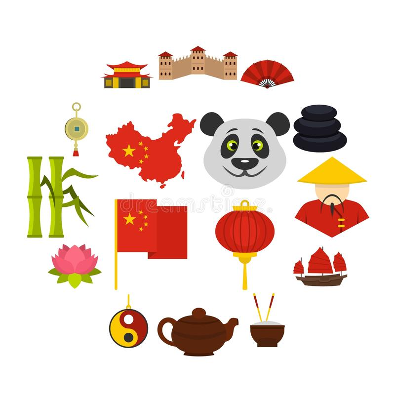 Le icone di simboli di viaggio della Cina hanno messo nello stile piano illustrazione vettoriale