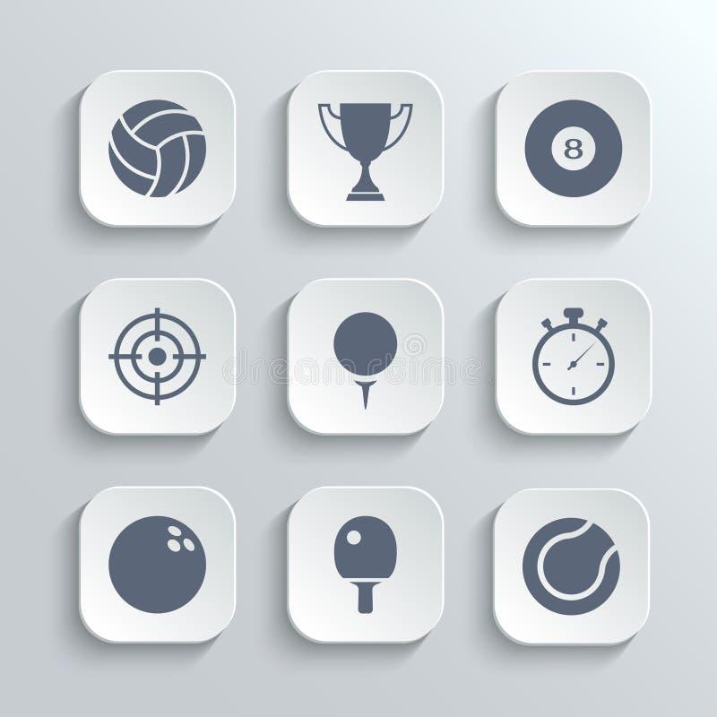 Le icone di sport mettono - vector i bottoni bianchi di app royalty illustrazione gratis