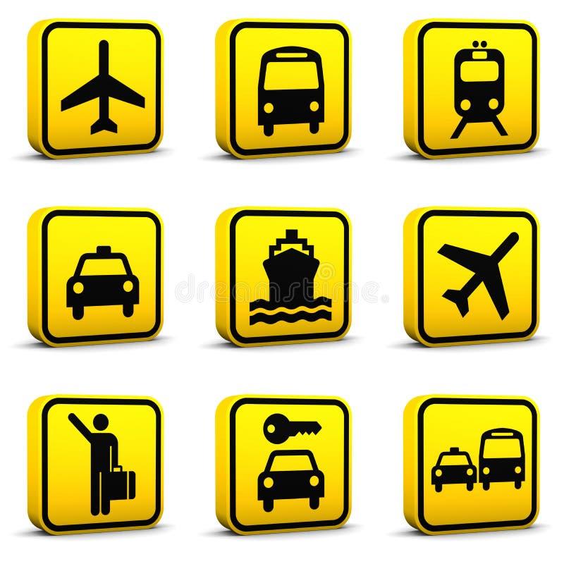 Le icone di stile dell'aeroporto hanno impostato 01 illustrazione vettoriale