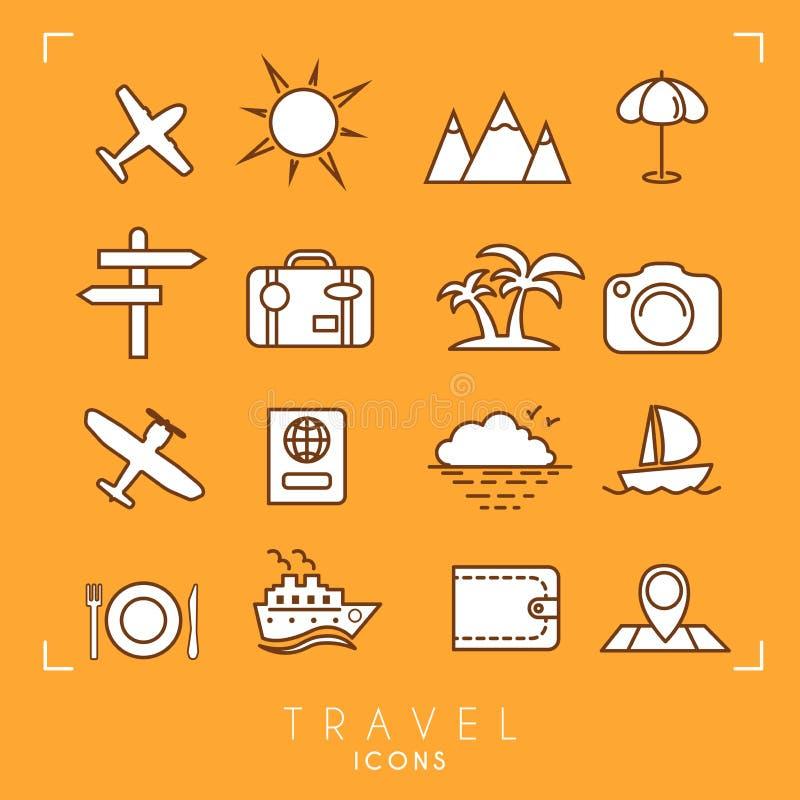 Le icone di vacanza e di viaggio hanno messo su fondo arancio illustrazione vettoriale