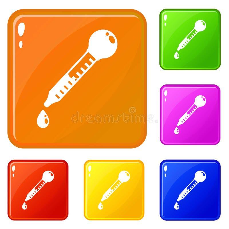 Le icone di vetro della pipetta hanno fissato il colore di vettore royalty illustrazione gratis