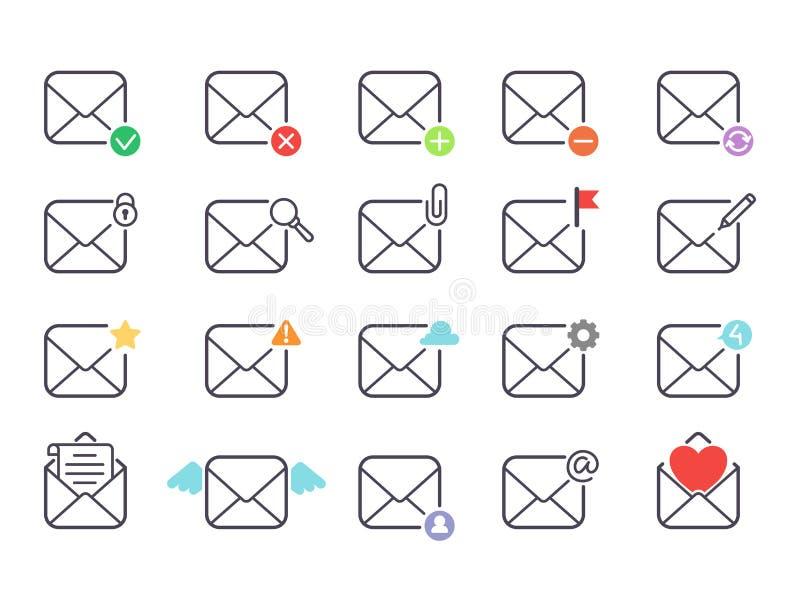 Le icone di vettore della lettera del email hanno messo la carta di progettazione della cassetta delle lettere del profilo di ind illustrazione vettoriale
