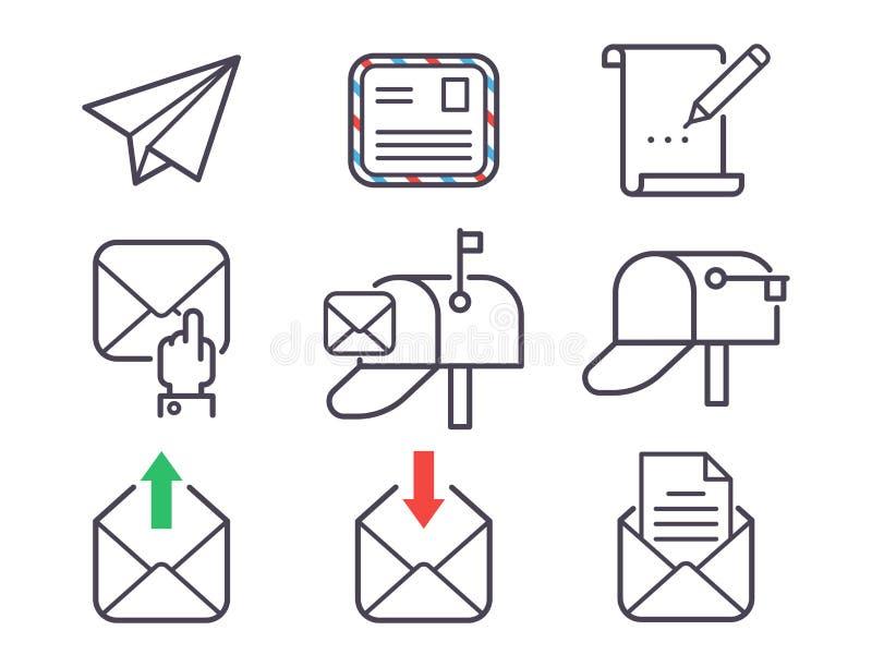 Le icone di vettore della lettera del email hanno messo la carta di progettazione della cassetta delle lettere del profilo di ind illustrazione di stock