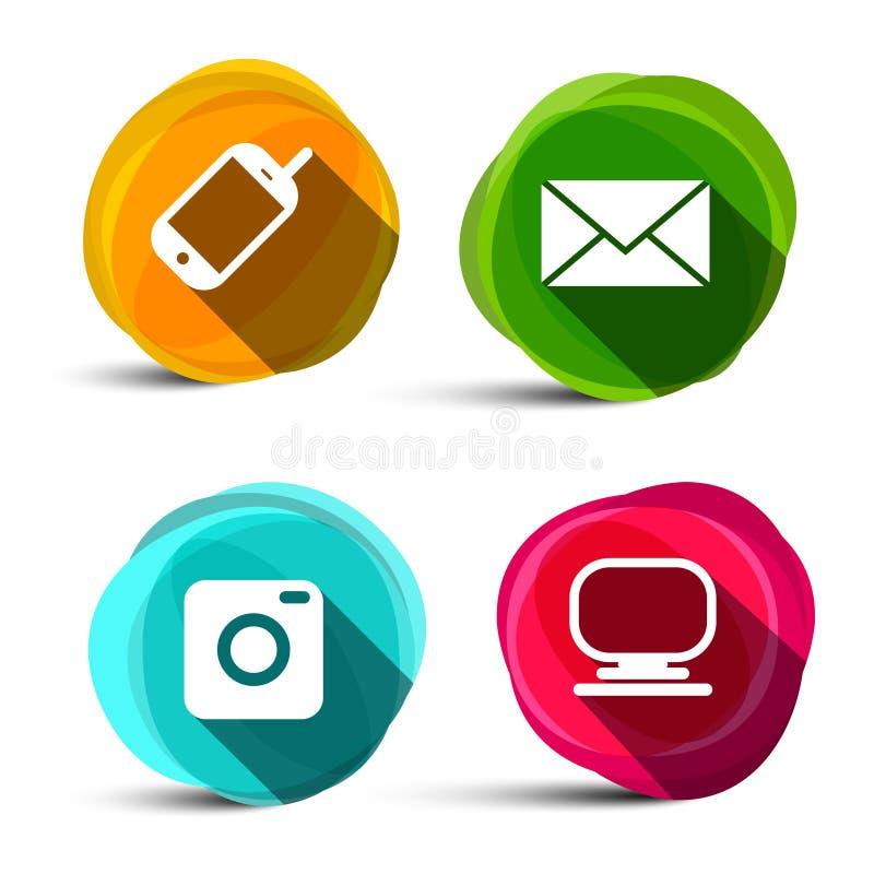 Le icone di vettore hanno impostato Simboli della macchina fotografica, del telefono, del computer e del email illustrazione di stock