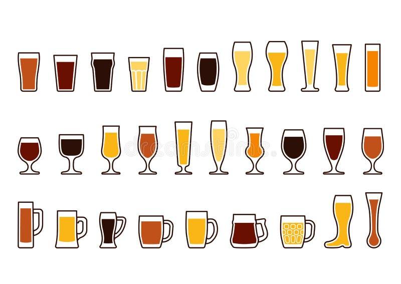 Le icone di vettore hanno messo delle tazze e dei vetri di birra royalty illustrazione gratis