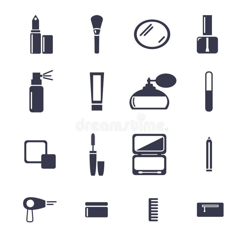 Le icone di vettore hanno messo i cosmetici piani di progettazione, bellezza illustrazione vettoriale