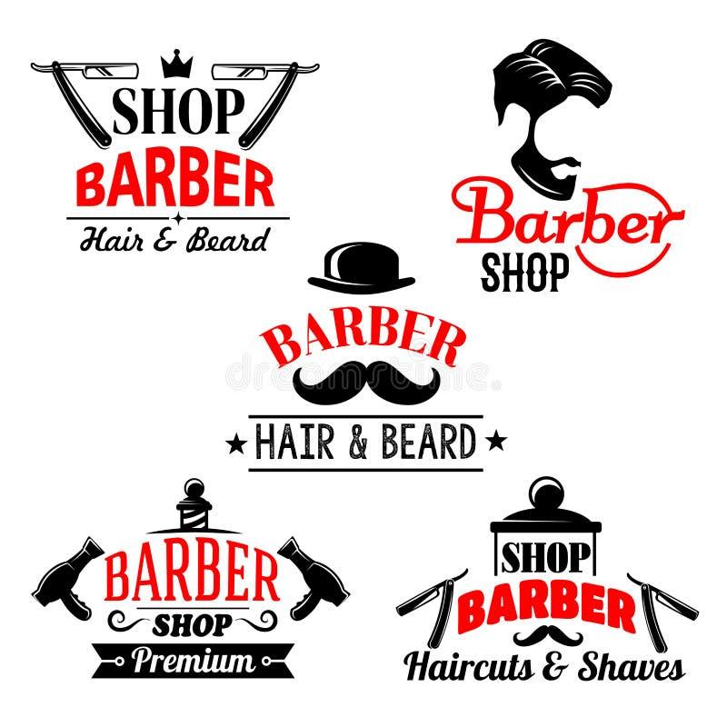 Le icone di vettore hanno messo per il salone di premio del negozio di barbiere illustrazione vettoriale