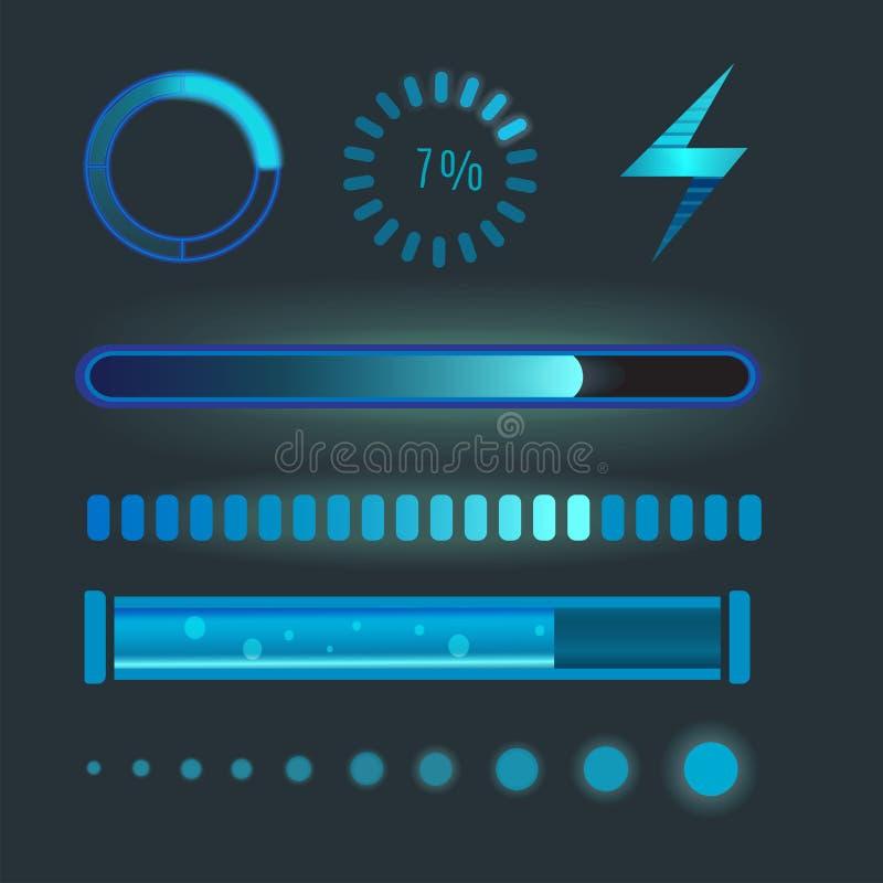 Le icone di vettore per l'interfaccia mobile di caricamento di Internet di web di progettazione delle applicazioni scaricano il b illustrazione vettoriale