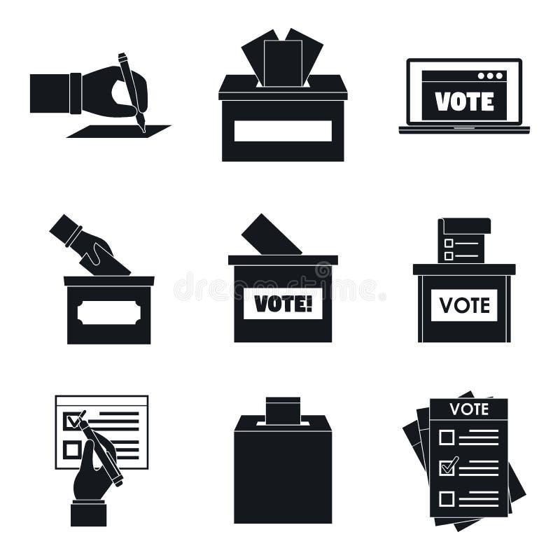 Le icone di voto della scatola di voto di voto hanno messo, stile semplice illustrazione vettoriale
