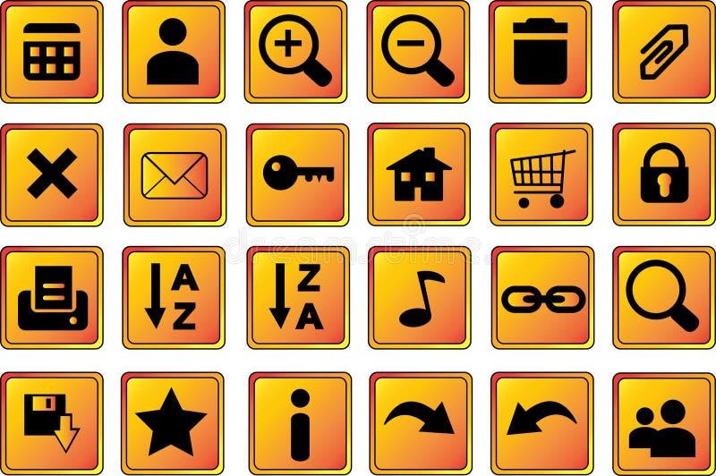 Le icone di Web abbottona 1 oro illustrazione vettoriale