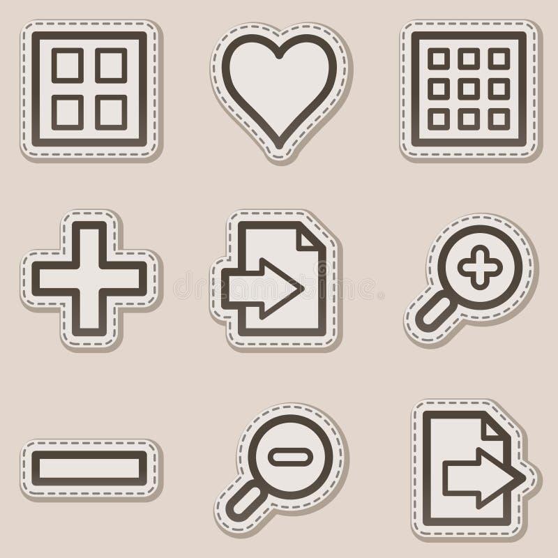 Le icone di Web del visore di immagine hanno impostato 1, autoadesivo marrone illustrazione vettoriale