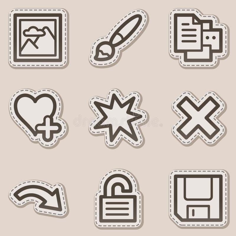 Le icone di Web del visore di immagine hanno impostato 2, autoadesivo marrone illustrazione di stock