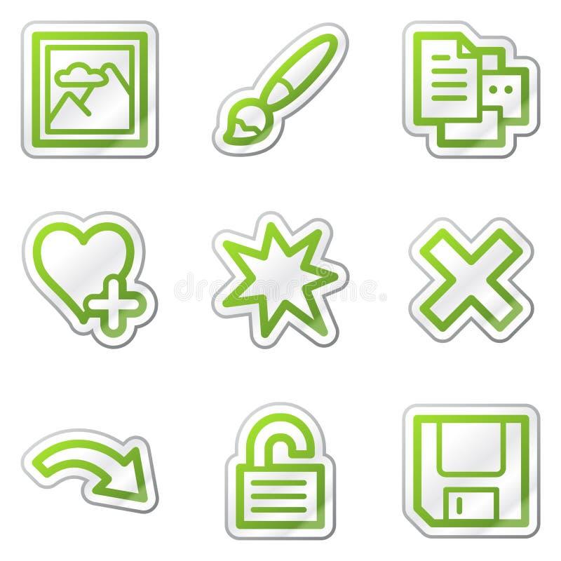 Le icone di Web del visore di immagine hanno impostato 2, autoadesivo verde royalty illustrazione gratis
