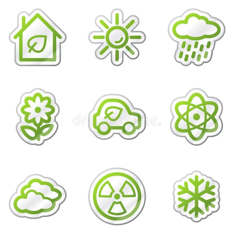 Le icone di Web di ecologia hanno impostato 2, autoadesivo verde di profilo illustrazione vettoriale