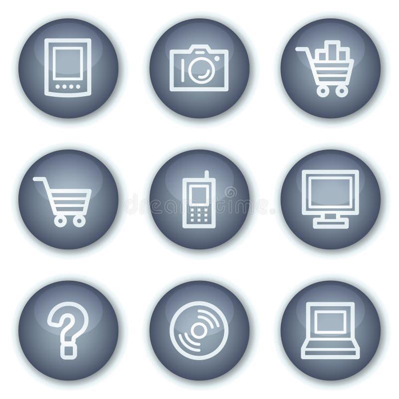 Le icone di Web di elettronica hanno impostato 1, cerchio minerale