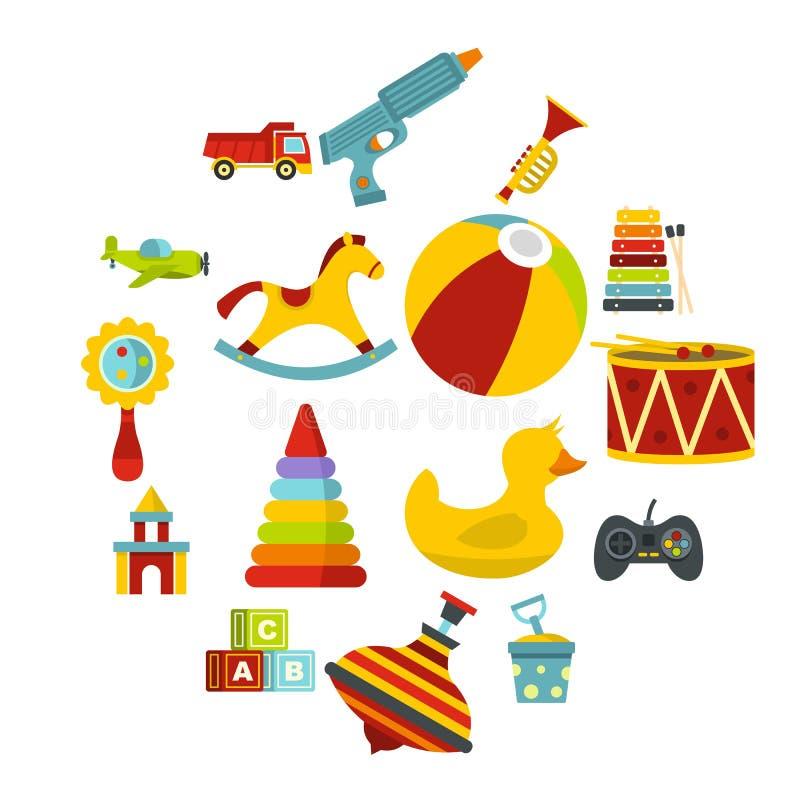 Le icone differenti dei giocattoli dei bambini hanno messo nello stile piano illustrazione di stock