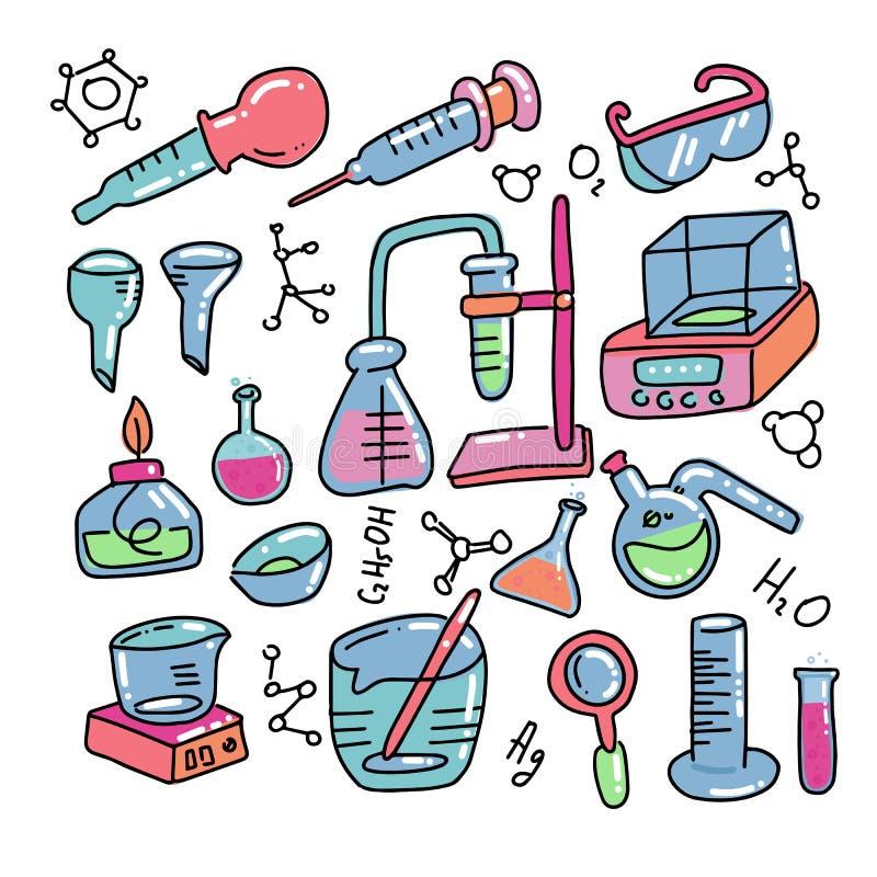 Le icone disegnate a mano di colore decorativo di chimica messe con l'attrezzatura scientifica di esperimento del laboratorio chi illustrazione di stock