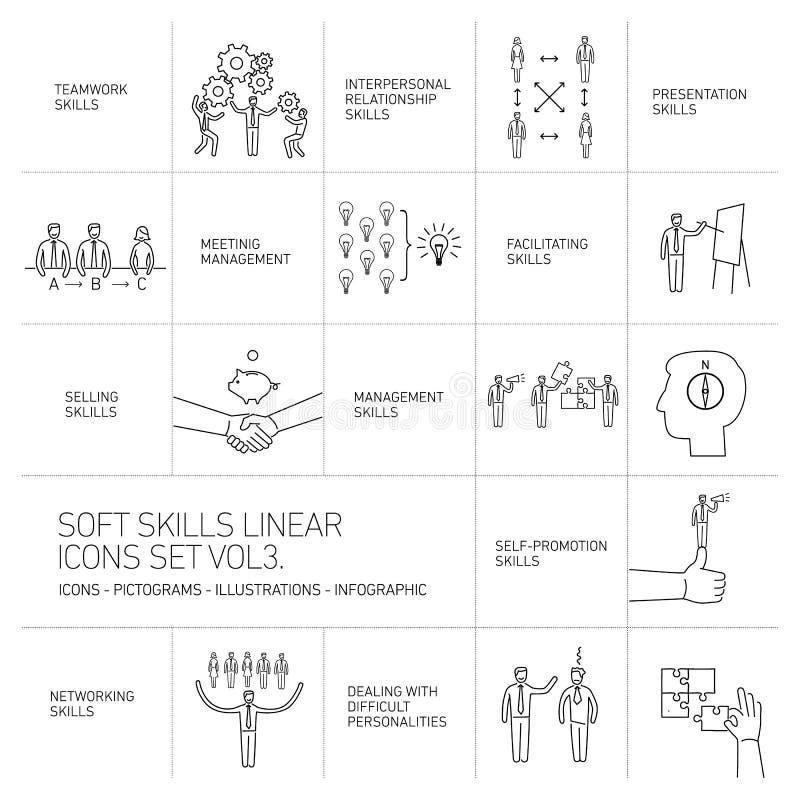 Le icone ed i pittogrammi molli di abilità hanno messo delle abilità umane illustrazione vettoriale