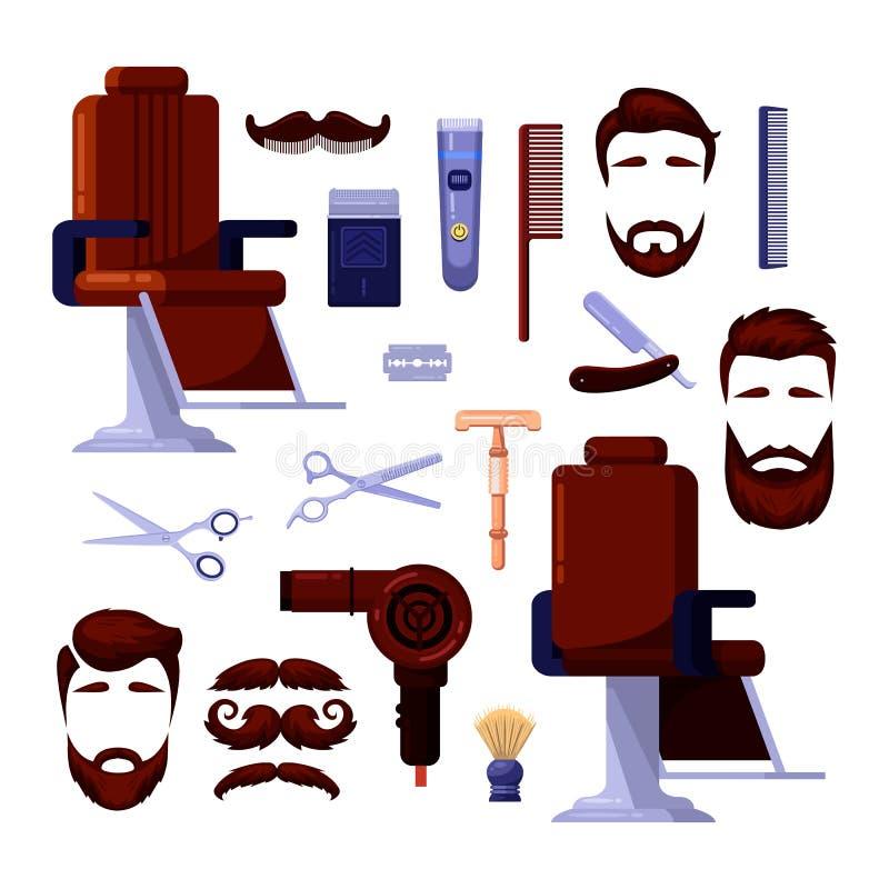Le icone ed il vettore del salone degli uomini del parrucchiere progettano gli elementi Barbiere, radersi e strumenti d'annata ed illustrazione vettoriale