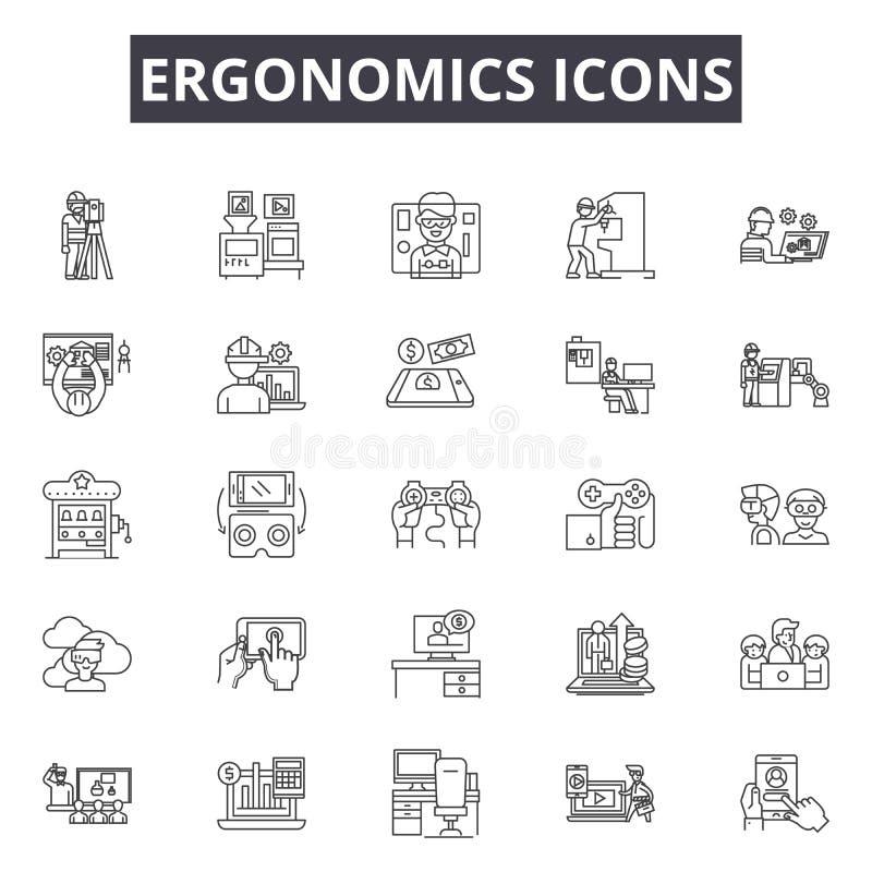 Le icone ergonomiche allineano le icone per il web e la progettazione mobile Segni editabili del colpo Concetto ergonomico del pr illustrazione di stock