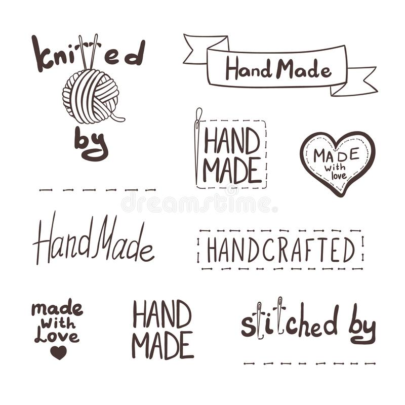 Le icone fatte a mano disegnate a mano di vettore hanno messo il fondo, etichette schizzate illustrazione di stock