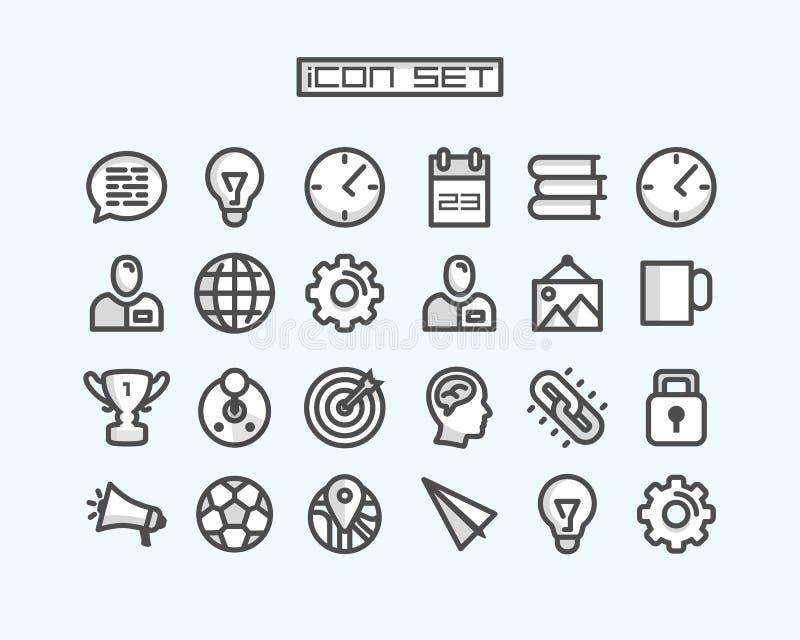 Le icone hanno fissato l'arte dell'ufficio di affari royalty illustrazione gratis