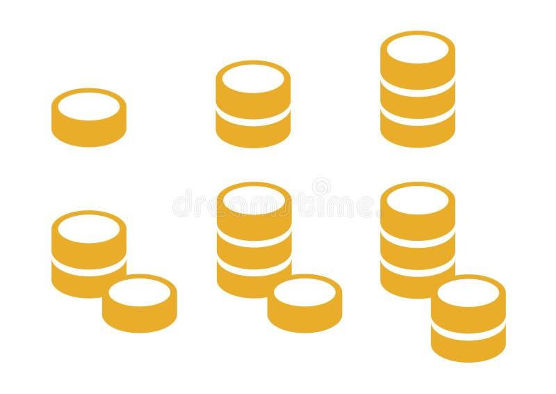 Le icone hanno messo di sei mucchi delle monete di oro fotografia stock libera da diritti