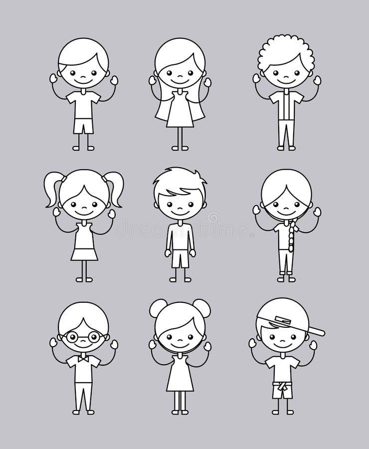 Le icone hanno messo i bambini felici illustrazione di stock