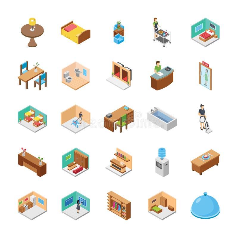 Le icone isometriche dell'hotel imballano royalty illustrazione gratis