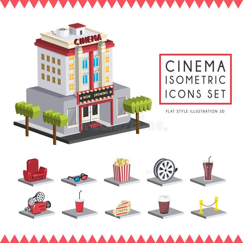 Le icone isometriche piane del cinema 3d hanno messo l'illustrazione illustrazione vettoriale
