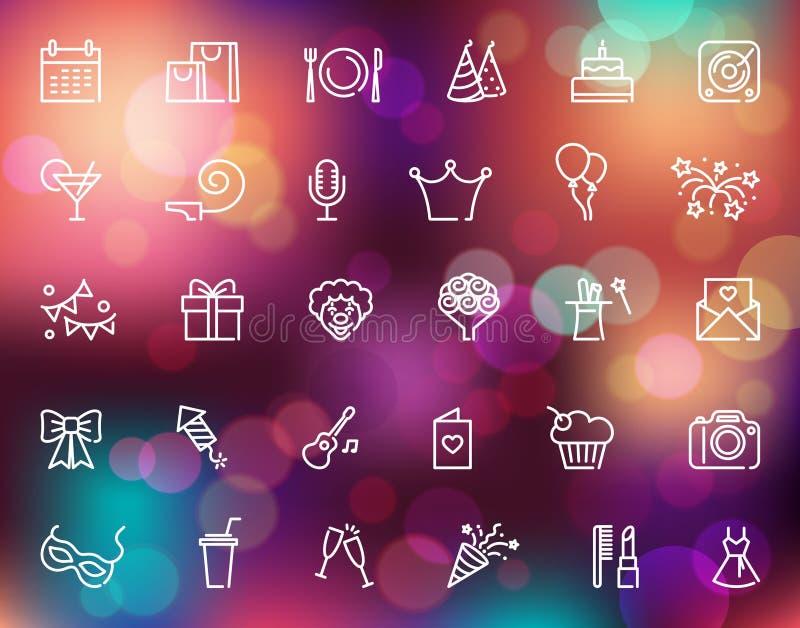 Le icone lineari di compleanno hanno messo sui precedenti variopinti con le luci defocused royalty illustrazione gratis