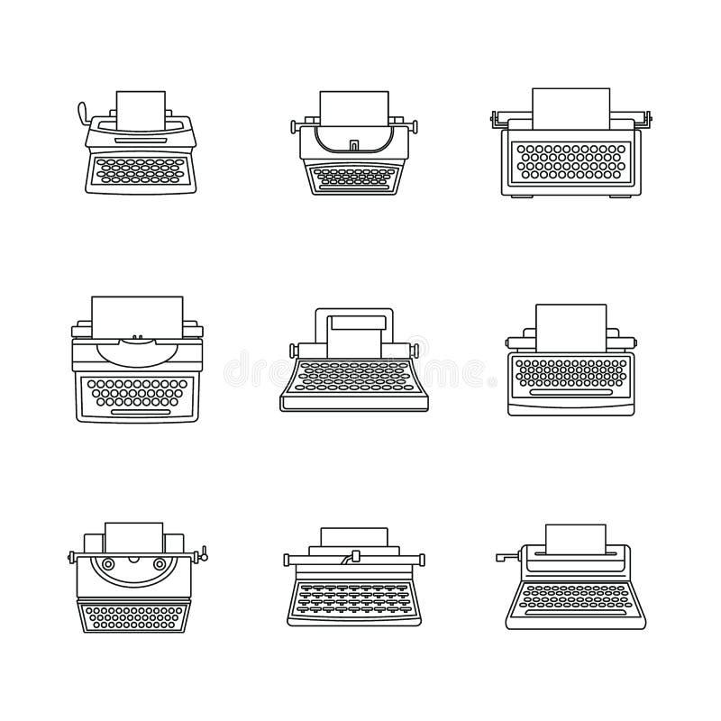 Le icone a macchina di chiavi della macchina da scrivere fissano, descrivono lo stile illustrazione di stock