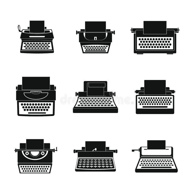 Le icone a macchina di chiavi della macchina da scrivere hanno messo, stile semplice illustrazione di stock