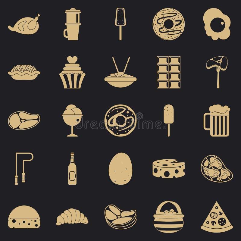 Le icone molto nocive dell'alimento hanno messo, stile semplice royalty illustrazione gratis