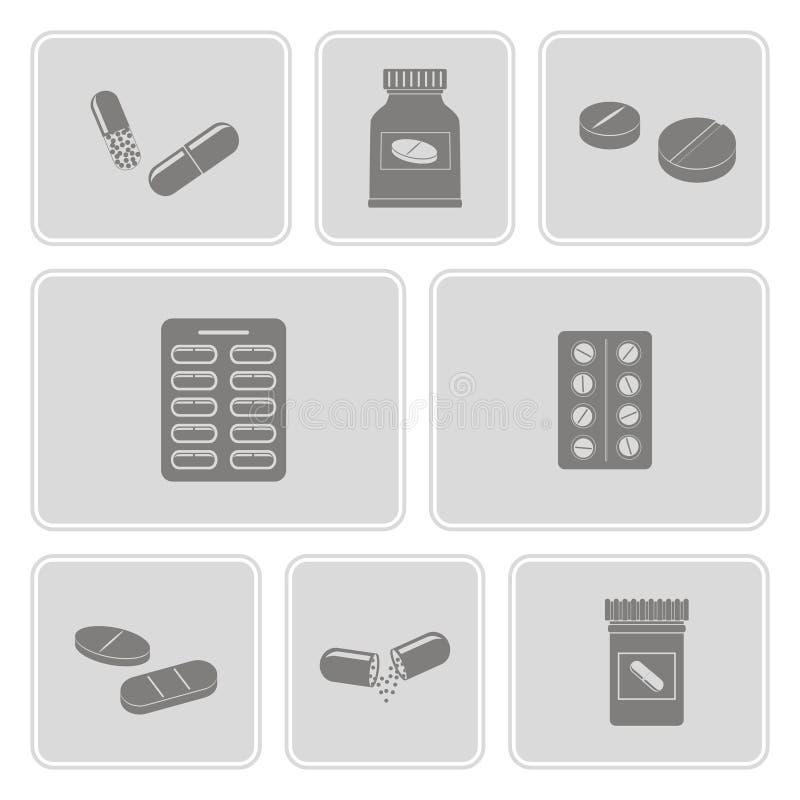 Le icone monocromatiche hanno messo con le pillole e le capsule delle droghe illustrazione vettoriale