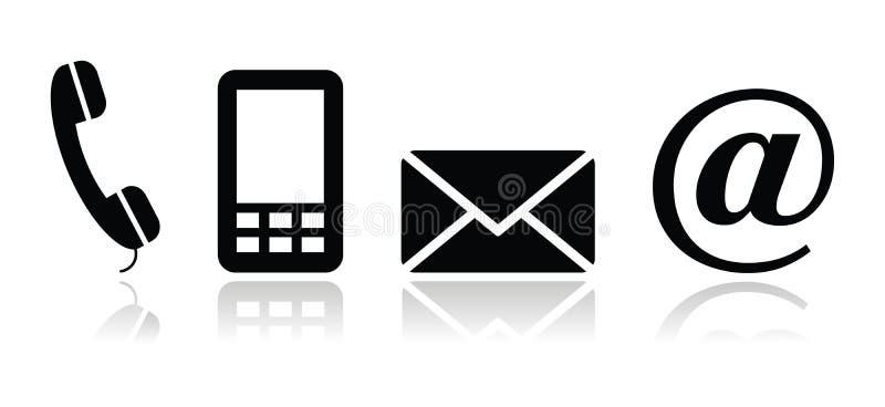 Le icone nere del contatto hanno impostato - il mobile, il telefono, il email, en illustrazione di stock