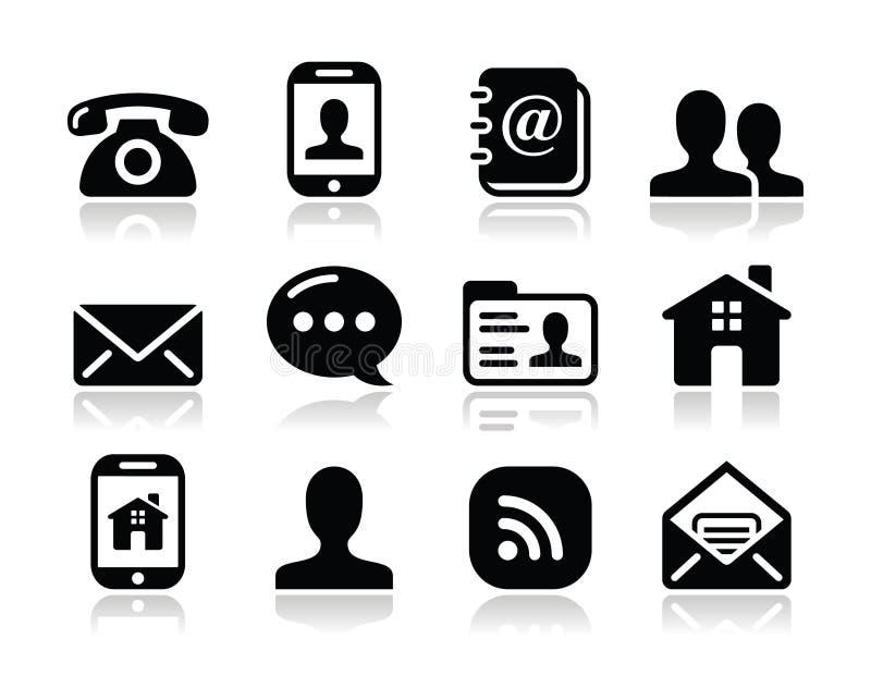 Le icone nere del contatto hanno impostato - il mobile, l'utente, email illustrazione di stock