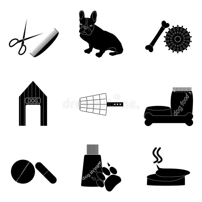 Le icone nere della siluetta hanno fissato la cura di animale domestico illustrazione vettoriale