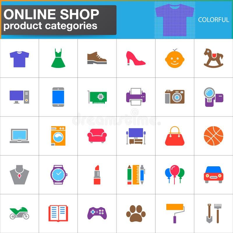 Le icone online di vettore di categorie di prodotto del negozio hanno messo, simbolo solido moderno illustrazione vettoriale