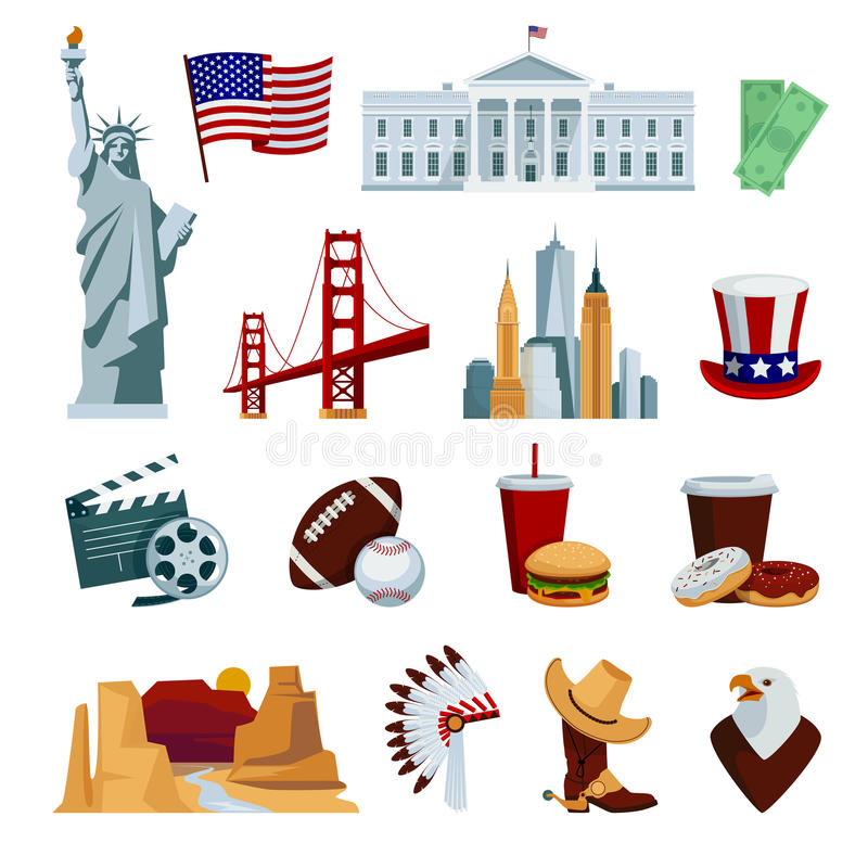 Le icone piane degli S.U.A. hanno messo con i simboli nazionali e le attrazioni americani dell'orizzonte illustrazione di stock